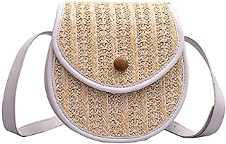 Wultia - Straw Shoulder Bag Flap Crossbody sac for Women Woven Bag Female Retro Beach Bolsos Rattan Bag Chain Wicker Bolsa Feminina #G8 White