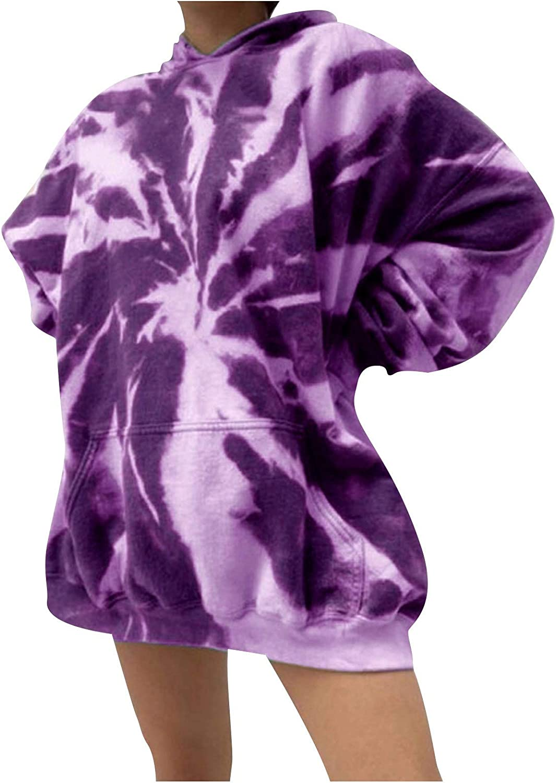 FUNEY Womens Long-awaited Casual Crewneck Striped Import Tie Top Printed Hoodies Dye