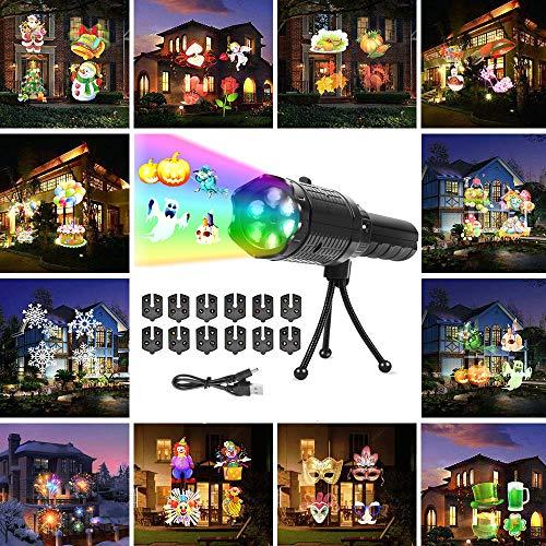 FONCBIEN Luces De Proyector De Navidad, Luz De Proyección LED Con 12 Patrones, Luz De Proyector De Vacaciones Al Aire Libre/Interior Para Navidad, Halloween, Fiesta De Cumpleaños