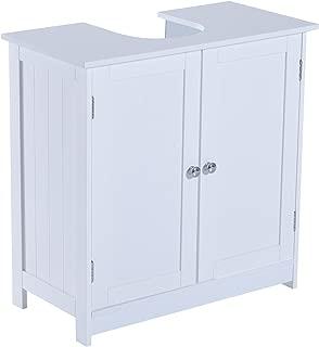 "HOMCOM 24"" Pedestal Sink Bathroom Vanity Cabinet - White"