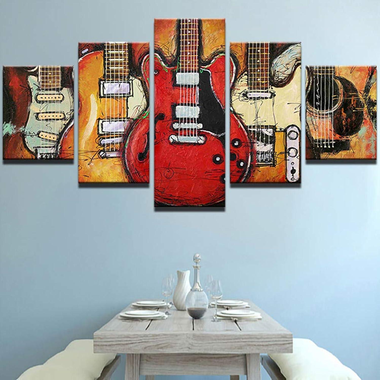 100% autentico WZYWLH Nordic Canvas Painting HD Pictures Living Room Decor 5 5 5 Piezas Resumen Guitar Music Poster Impreso Modular Wall Art Framework  ¡envío gratis!
