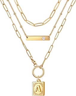 Sponsored Ad - Gold Layered Initial Necklaces for Women, Dainty 14K Gold Plated Chain Necklace, Trendy Cute Engraved Patte...