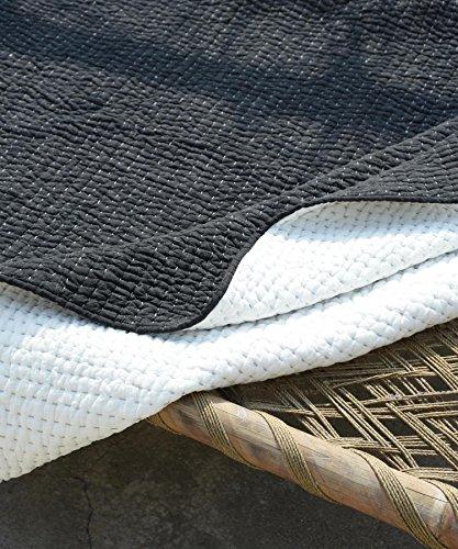 VLiving Couvre-lit Kantha matelassé effet denim délavé 1200 g/m² 100 % coton gris – (Gris, 152,4 x 228,6 cm)