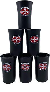 Malteser 6X Aquavit Kräuterlikör Malteserkreuz Schnapsgläser Shotgläser matt-schwarz