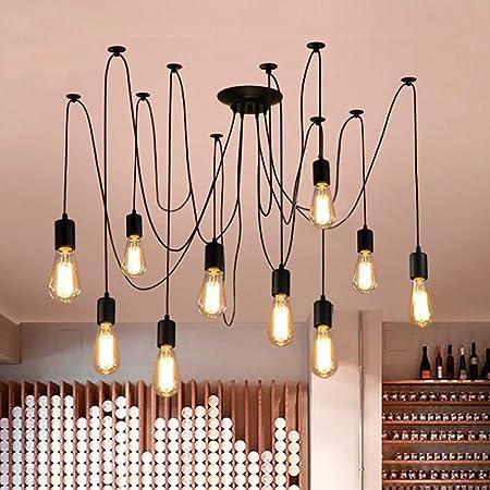 Oursun Lustre Araignee Suspension Lampe Suspendue Industrielle Lustre Retro Suspension Luminaire Vintage pour Salon Cuisine Salle Chambre (10 Ampoules)