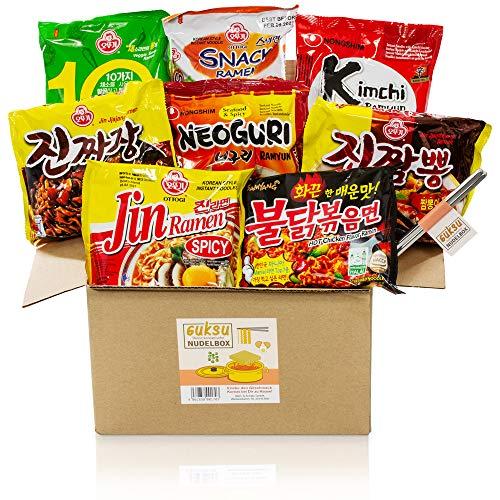 Guksu-Box mit 8 koreanischen Ramen - Ausgewählter Mix aus vielseitigen Geschmacksrichtungen - Korea Instant-Nudeln Geschenkbox
