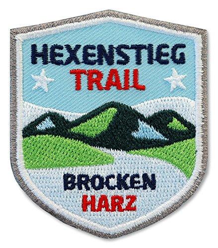 Club of Heroes 2 x Abzeichen gestickt 51 x 60 mm/Hexenstieg Harz Brocken/Harzer-Hexen-Stieg/Applikation Aufnäher Aufbügler Bügelbild Patch/Bergsteigen Wandern Klettern Reiseführer Wanderkarte Kompass