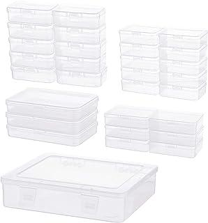 BENECREAT 30PCS 5 Tailles Mixtes Boîte de Rangement Rectangulaire en Plastique Transparent avec Couvercles Rabattables et ...