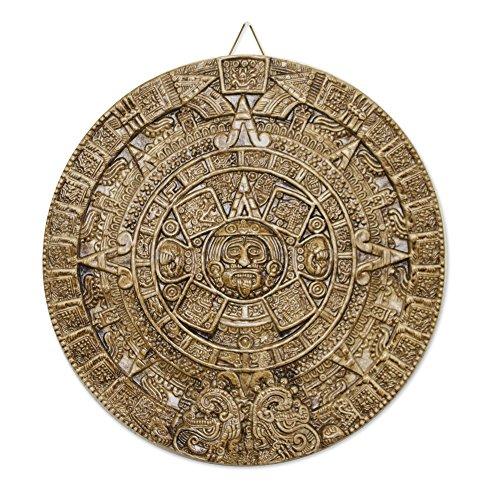 NOVICA Adventskalender aus Keramik, Motiv Honey Aztec Sun Stone, Hellbraun