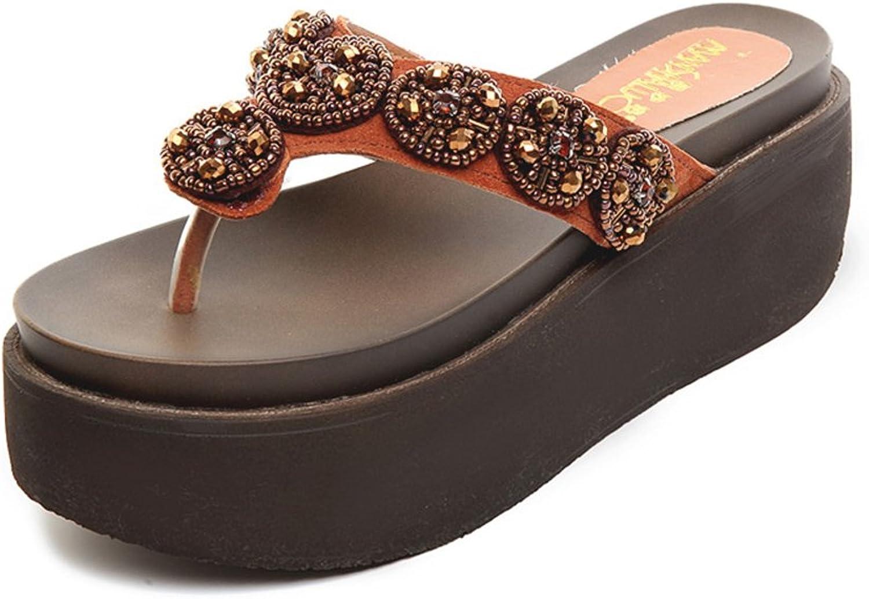 QIDI-sandalen Sommersaison Frau Braun Verschleißfest Hoher Absatz Hausschuhe (größe   EU39 UK6)    Moderne Muster