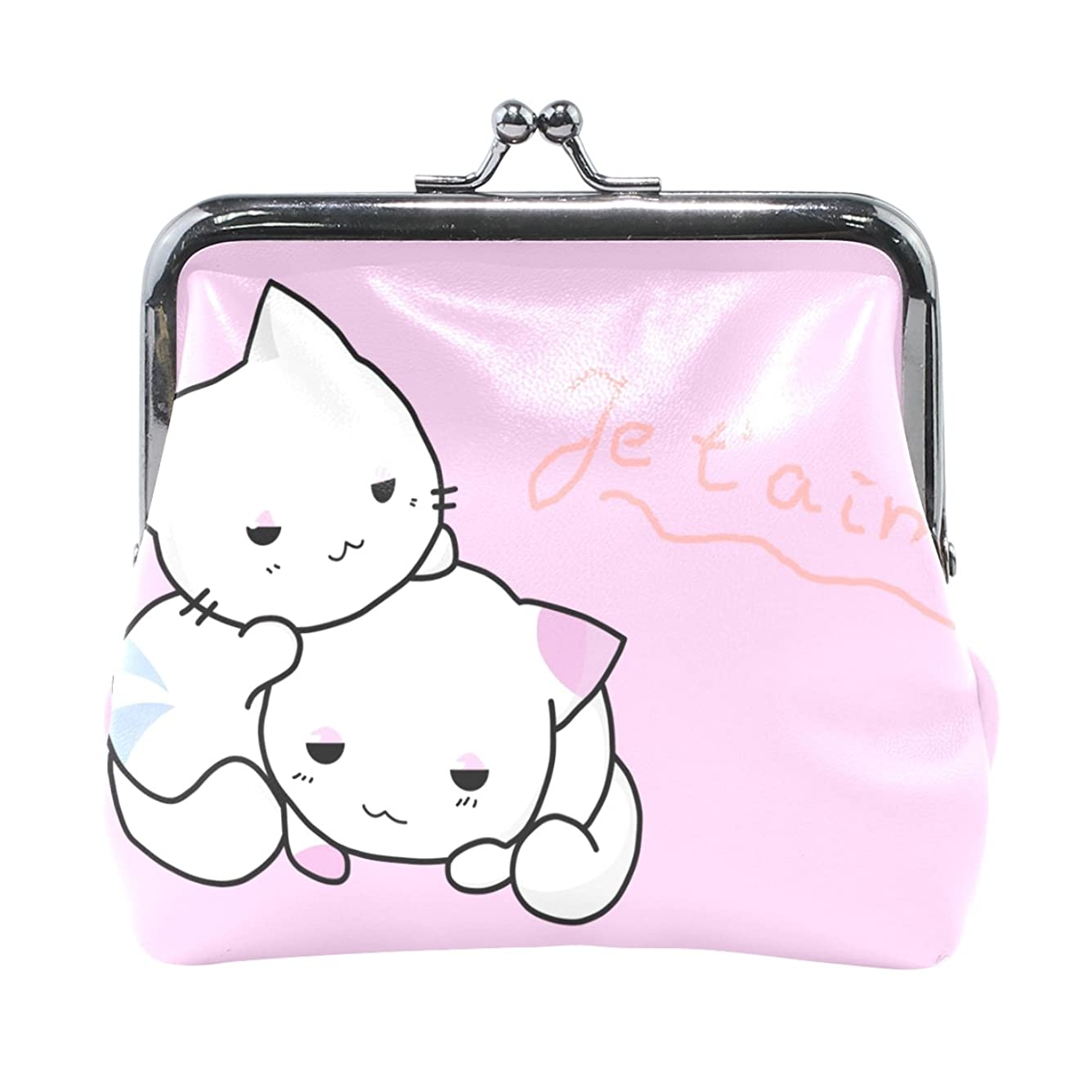 職業アーサーコナンドイル検体AOMOKI 財布 小銭入れ ガマ口 コインケース レザー 猫 白 ピンク かわいい ねこ