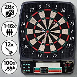 Physionics electronic dart board - 28 games, 131 game variants, incl. 12 darts, 100 spare arrow heads and power supply, 8 players - LED display dart board, dart machine, dart game, darts