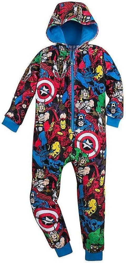Disney Store Marvel Avengers Boy Hooded Blanket Sleeper Pajama Size 5/6