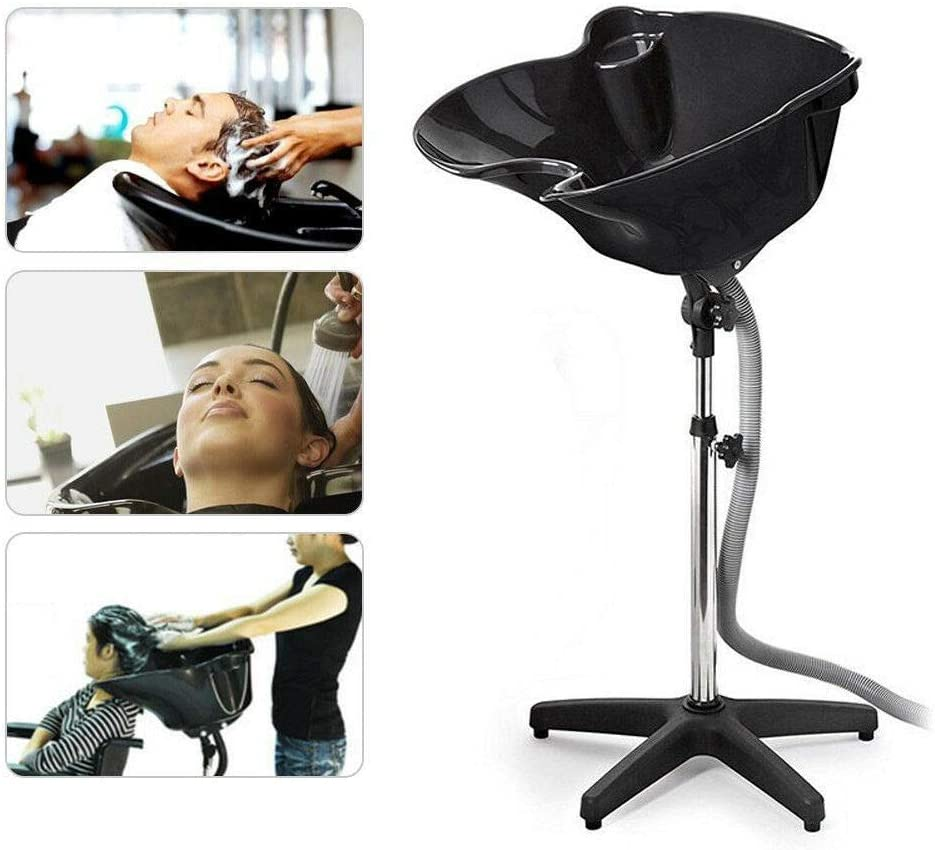 Lavabo móvil de peluquería, altura ajustable, color negro, portátil, para peluquería, lavado hacia atrás, altura regulable