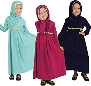 b27e0fb45fe98 1-6 Ans Bébé Enfant Fille Robe Longue Musulman Islamique Abaya avec Hijab  Orné Petites