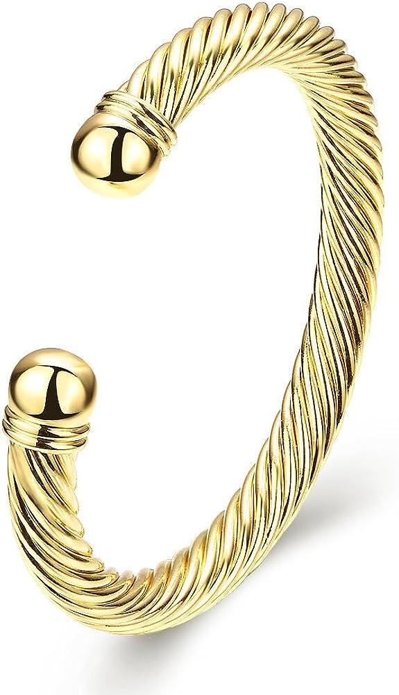 WYS Fashion Jewelry Brand Classic Spiral Cable Wire Bracelet Elegant Simple Cuff Bracelet Valentine's Day Gift