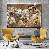 N / A Rahmenloses Gemälde indisches Mädchen mit Wolfsölgemäldeplakat auf Leinwand und skandinavischer KunstZGQ12005 60x80cm