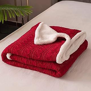 XJJZS 120x180cm thermique épais tricoté hiver couverture d'hiver enfants cachemire lit de literie couette rouge café câble...
