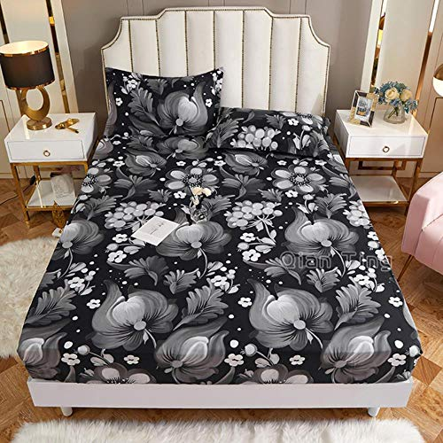 UKUCI New on Product 1pc 100% Polyester Printed Fitted Sheet Mattress Cover Four Corners With Elastic Band Bed Sheet(no pillowcases),anxianghui,120cmX200cm25cm