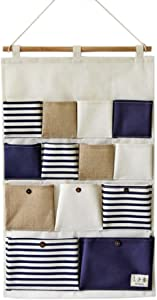 SFGHOUSE Wall Door Hanging Storage Bags Closet Hanging Organizer Storage Pockets Cotton Line Striped Pockets