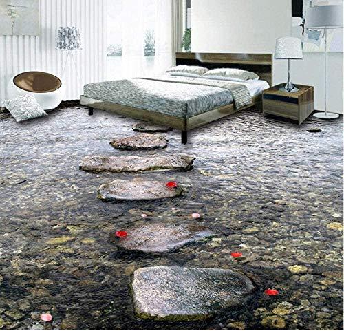 Customized Floor Mural Stone Street Stream Water 3D Floor Tiles Living Room Kitchen Bathroom Vinyl Wallpaper Waterproof Home Decoration-300x210cm