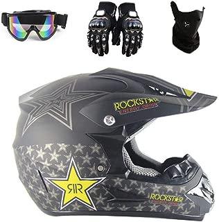 Casco da Moto Cross Caschi Integrale da Corsa Motocicletta ATV MX BMX Downhill Cross-Country Quadrilatero con Caschi Occhiali di Protezione//Face Mask//Guanti AKBOY Casco da Motocross Adulti Verde