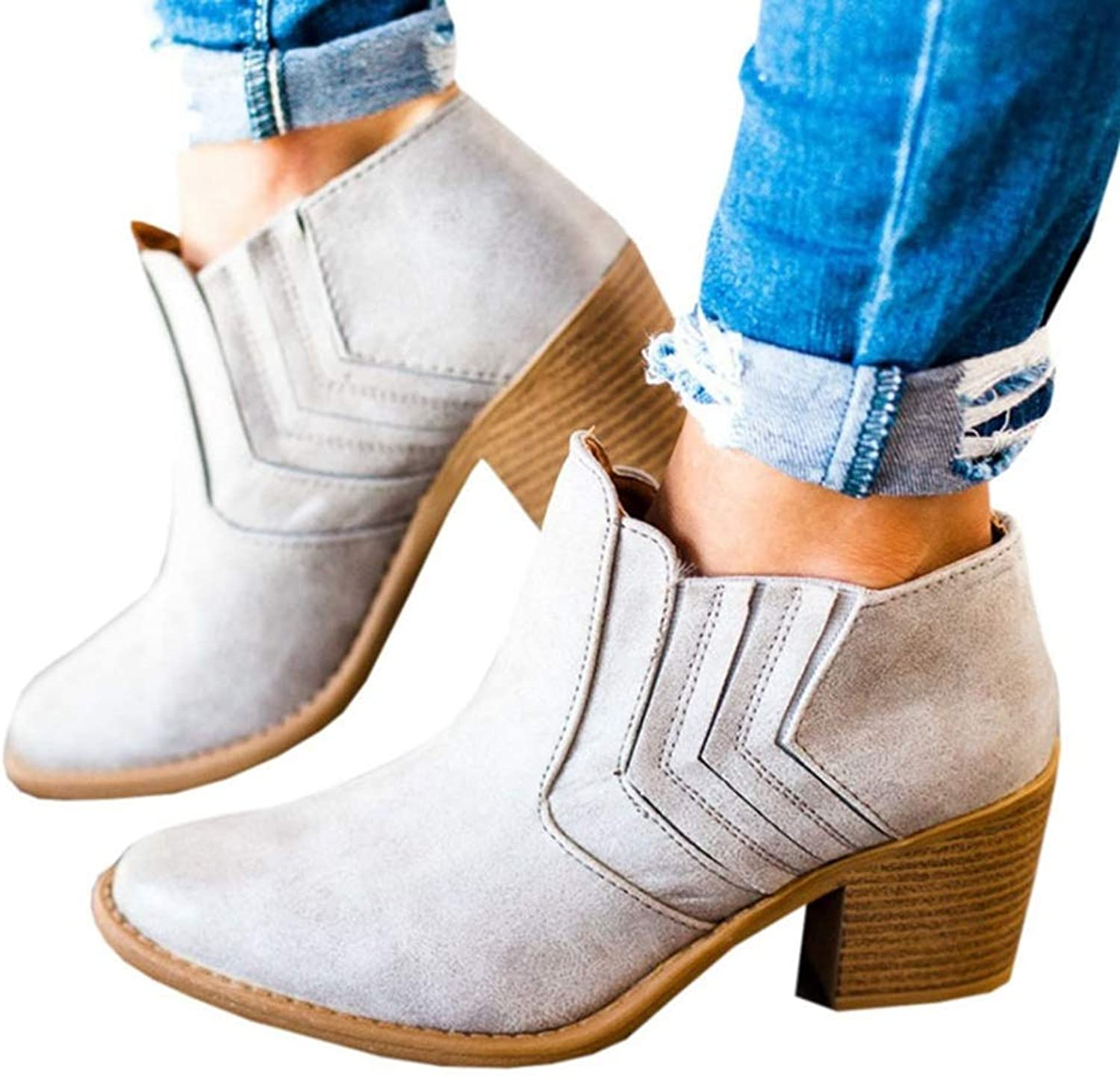 JOYBI Women Winter Round Toe Ankle Boots Non Slip Comfortable Fashion Thick Stacked Mid Heel Short Boot