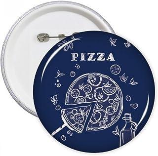 DIYthinker Dessin de la ligne Pizza Italie Foods Round Pins Bouton Badge Vêtements Décoration de cadeau Multicolore M
