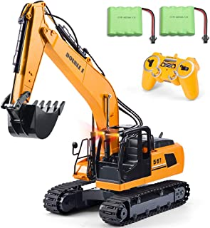 DOUBLE  E 17 Channel Excavator Toy 1/16 Remote Control Truck Digger with Metal Shovel Lights Sounds 2 Rechargeable Batteries 2.4Ghz Construction Toys Vehicles