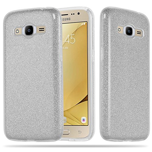 Cadorabo Hülle für Samsung Galaxy J2 2016 - Hülle in Sternenstaub Silber – TPU Silikon & Hardcase Handyhülle im Glitzer Design - Hard Hülle TPU Silikon Schutzhülle