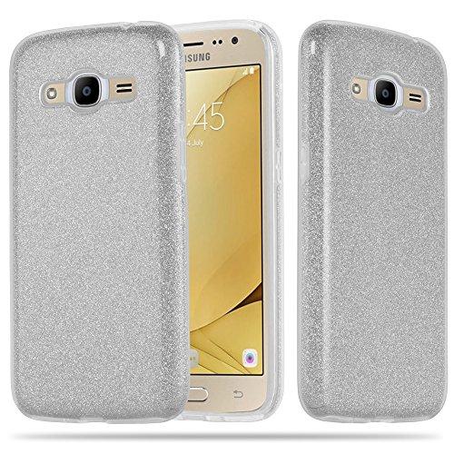 Preisvergleich Produktbild Cadorabo Hülle für Samsung Galaxy J2 2016 (6) - Hülle in Sternenstaub Silber TPU Silikon und Hardcase Handyhülle im Glitzer Design - Hard Case TPU Silikon Schutzhülle