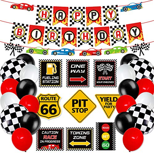 Race Car Birthday Party Decoration Set Race Car Party Signs Racing Birthday Banner Checkered Flags Balloons for Boys Let's go Racing Party Supplies