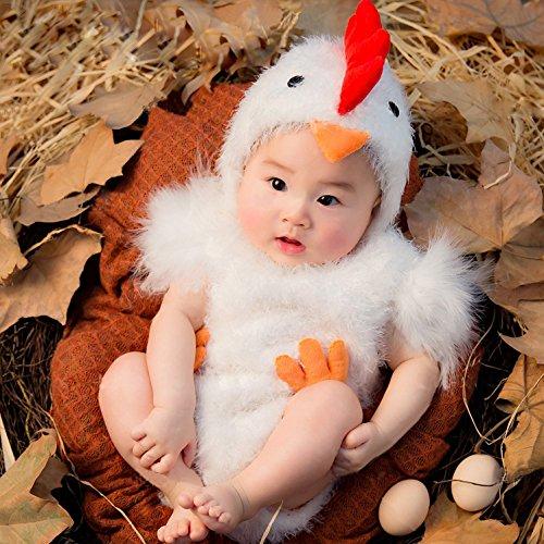 THEE Baby Kostüm Hühnchen Säugling Fotografie Overall Fotoshooting Requisit ,Weiß Kostüm,3-6 Monate