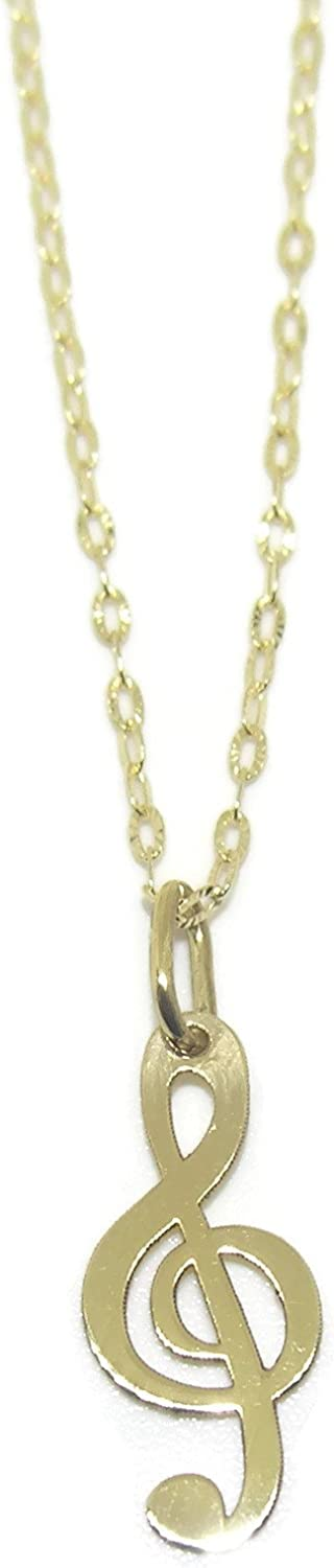 Treble Clef Collar Necklace 18K Yellow Gold | Music Note Pendant Charm Chain 40cm long | 1.50g Real Gold | Never say Never Italian Fine Jewelry | Gift for Music Lovers