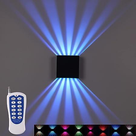 TWSXTE RGB Applique Murale RF Télécommande Lampe Murale Extérieur Double Applique Interieur Supérieure et Inférieure 10W éclairage Changeant de Couleur Eclairage Escalier Carrée