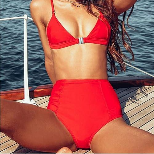 Rouge Taille Haute Bikini Set Vintage Maillot De Bain Femmes Solide Monokini plagewear Maillot De Bain Maillot De Bain Push Up Maillot De Bain