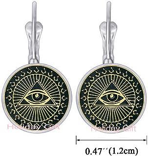 Ma ic Eardrop Earrings All Seeing Eye Earrings Jewelry Titanium Steel Illuminati Earrings Jewelry Accessories.HTY-248