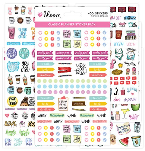 bloom daily planners New Classic Planner Sticker Sheets - Variety Sticker Pack - 417 Stickers Per Pack!