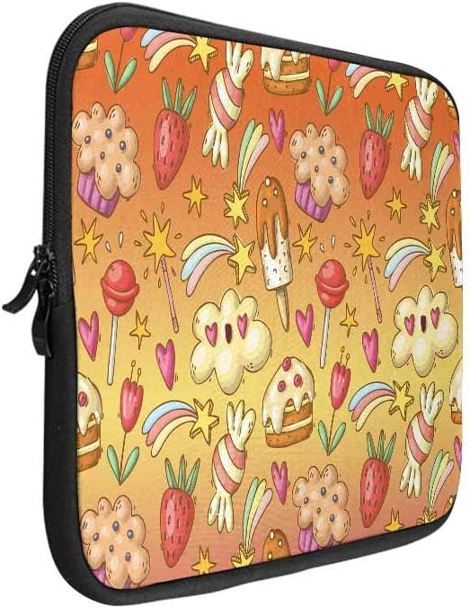 INTERESTPRINT Laptop Sleeve Cute Summer Pattern Bananas Notebook Neoprene Pouch Case Bag 14 Inch 14.1 Inch