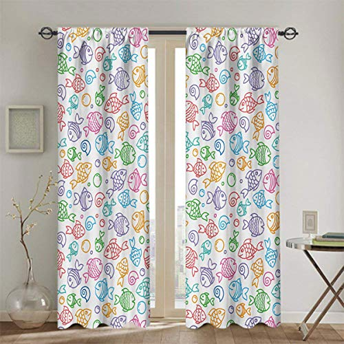 LanQiao Kids Room Darkening Curtains Colorful Doodle Style Fish Figures with Happy Faces and Bubbles Under The Sea Aquarium Room Divider Curtain Screen Partitions 42x84 Inch Multicolor