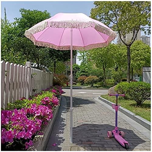Y&J Pink Garden Parasol 1.6m(5.2ft) / with Tassels/Outdoor Parasol with Tilt Waterproof/Height...