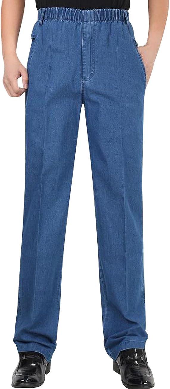 Zoulee Men's Full Elastic Waist Denim Pull On Jeans Straight Trousers