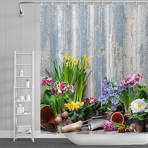AWERT 150x180cm Rustikal Ländlich Landschaft Duschvorhang Blau & Weiß Holzbretter, Landwirtschaftliche Geräte, Blumen Duschvorhang für Badezimmer Wasserdichtes Polyestergewebe Set mit Haken