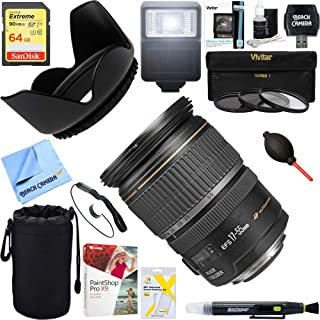Canon (1242B002) EF-S 17-55mm F/2.8 IS USM Wide Angle Zoom Lens + 64GB Ultimate Filter & Flash Photography Bundle