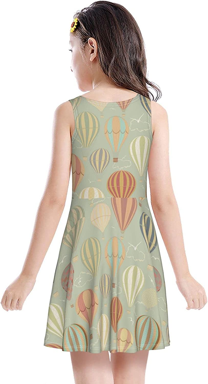 Girl Tank Dress Beautiful Cute hot air Balloon Sky Mosaic map Summer Sleeveless Dresses Print Swing Skirt Casual Party Sundress for Kids 2-6 Years Skater Dresses