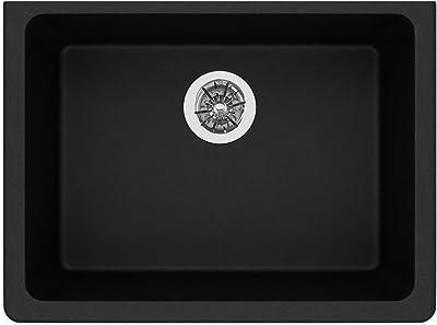 Elkay Quartz Classic ELGUAD2519PDBK0 Black Single Bowl Undermount ADA Sink with Perfect Drain