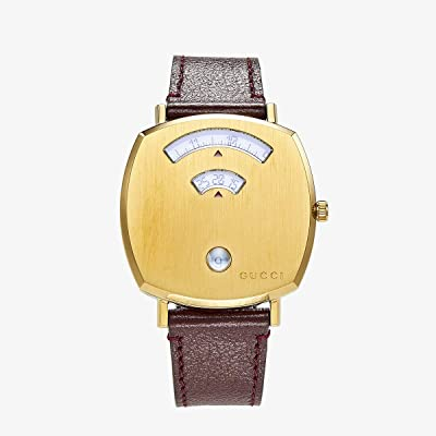 Gucci Gucci Grip (Gold Dial/Brown Leather Strap) Watches