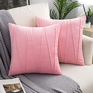 Woaboy Decorative Striped Velvet Throw Pillow Covers Soft Solid Cushion Covers Square Pillowcases for Bed Sofa Couch Car Living Room 2 Pieces 18x18inch 45x45cm Baby Pink