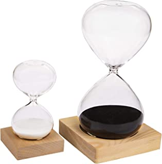 Suwimut 2 Pack Hourglass Sand Timer, 30 Minute and 5 Minute Sand Clock Timers for Office, Home, Desk Decor, Time Managemen...