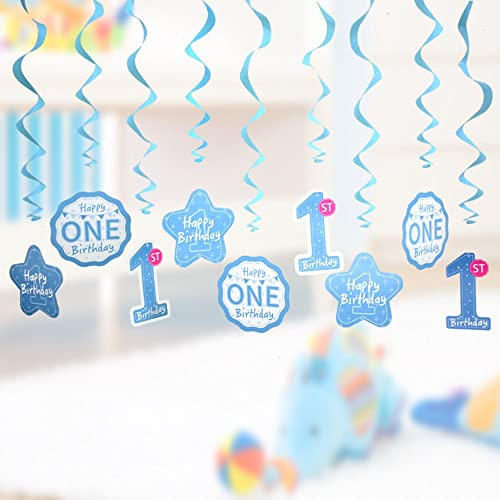 1st Birthday Decorations Baby Boys First Swirl Hanging Banner Kit Blue Theme